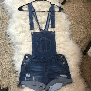 Distressed overall shorts!